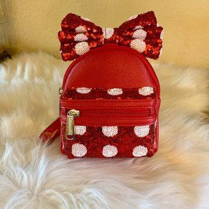 Loungefly Sequined Minnie Bow Backpack Wristlet